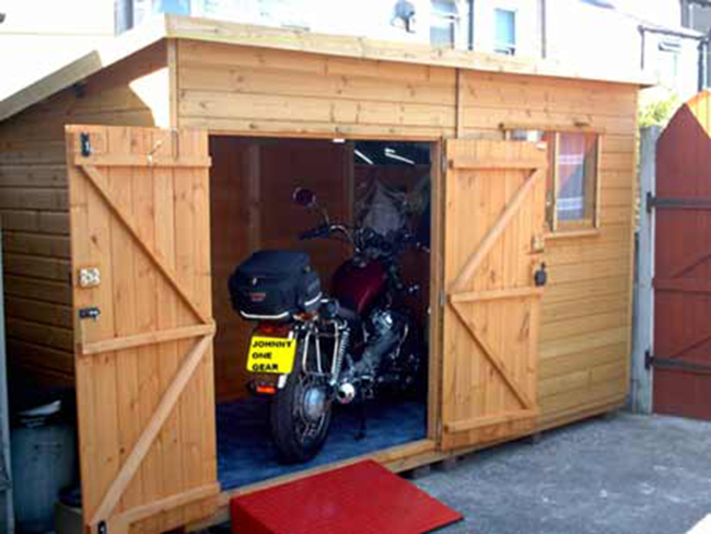Motorcycle shed shed plans kits for Motorcycle storage shed