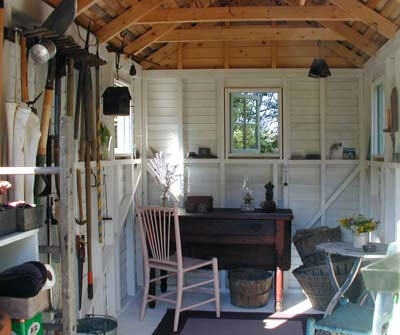 Garden shed interior the best way to landscape around a for Shed interior ideas