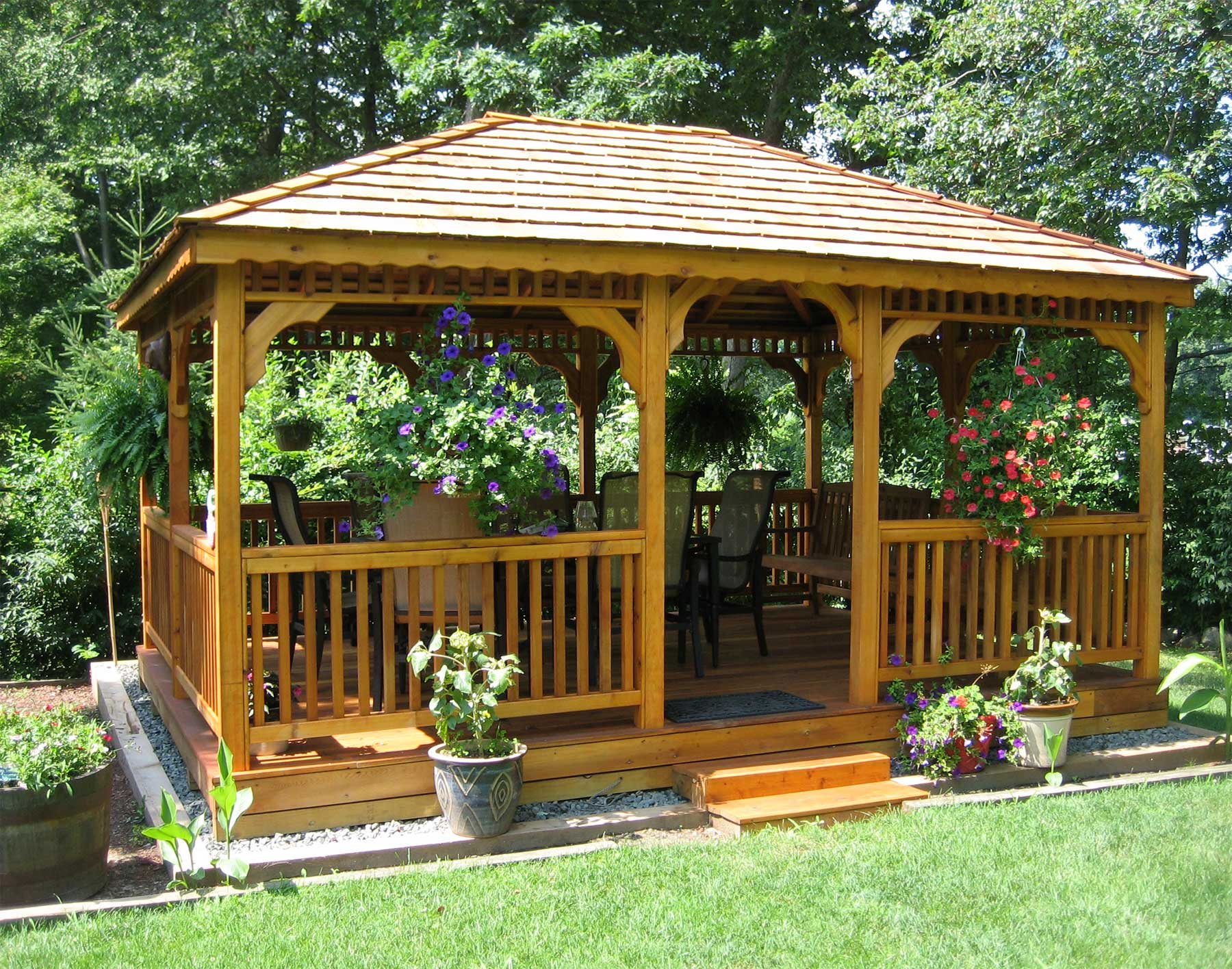 Gazebos wooden garden shed plans compliments of build for Patio decks for sale