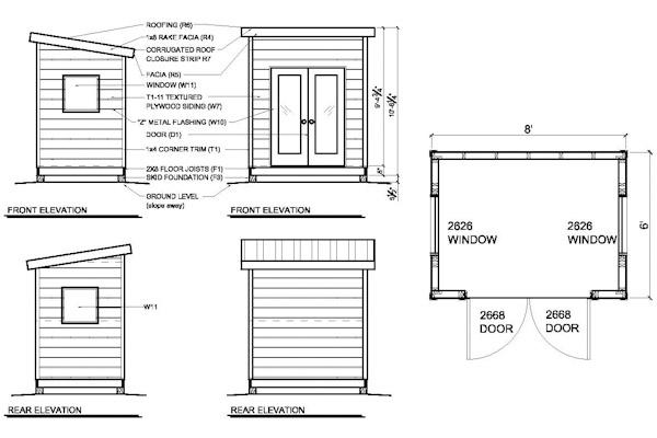 Shed blueprints 6x8