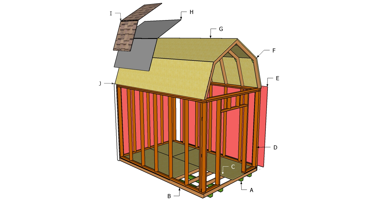 Storage shed plans 10x12 gambrel here sanglam for Barn plans