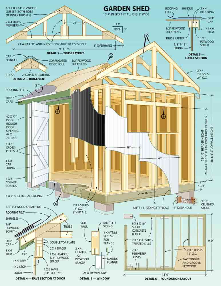 Outdoor shed plans free shed plans kits for Shed plans and material list