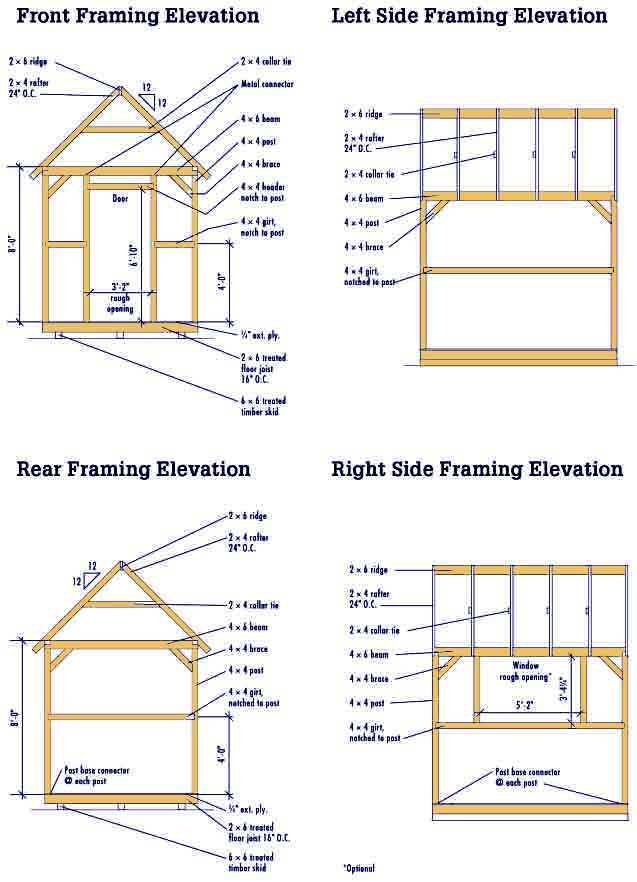 Shed plans 8 x 10 shed plan 12 feet by 24 feet shed for Free barn blueprints