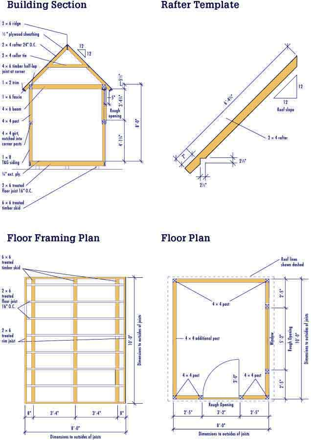Shed plans 8 x 10 shed plan 12 feet by 24 feet shed for Shed floor plans